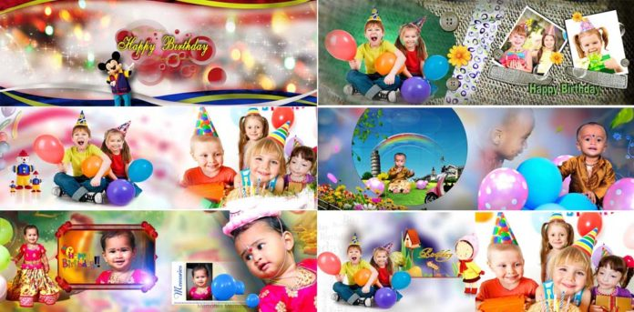 Free Download Birthday Album Design 12x36 PSD Sheets
