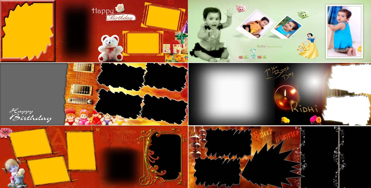 Free Download Birthday Album Backgrounds 12x36 PSD Files