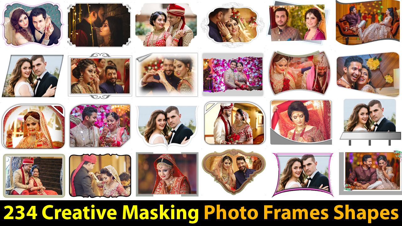 Free Download 234 Creative Masking Photo Frames Shapes PSD Files Collection