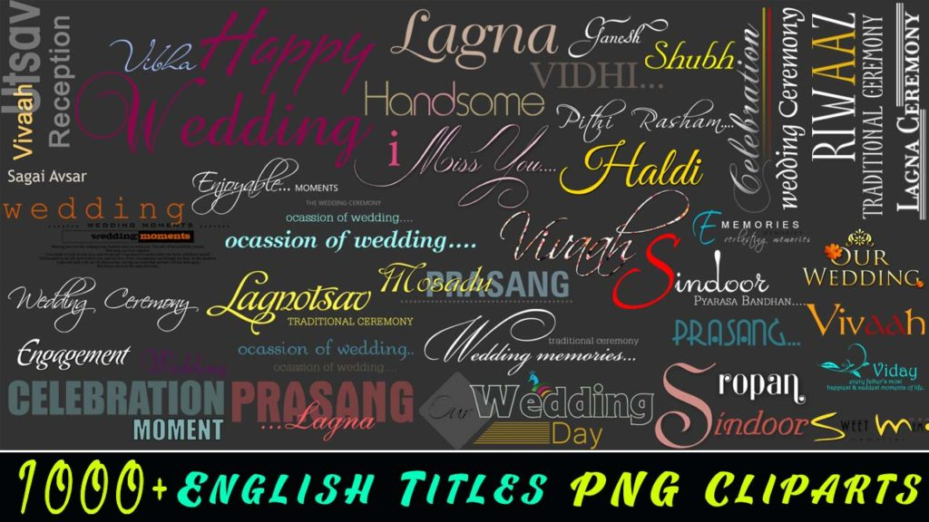 1000+ English Titles PNG Cliparts For Wedding Album Designs