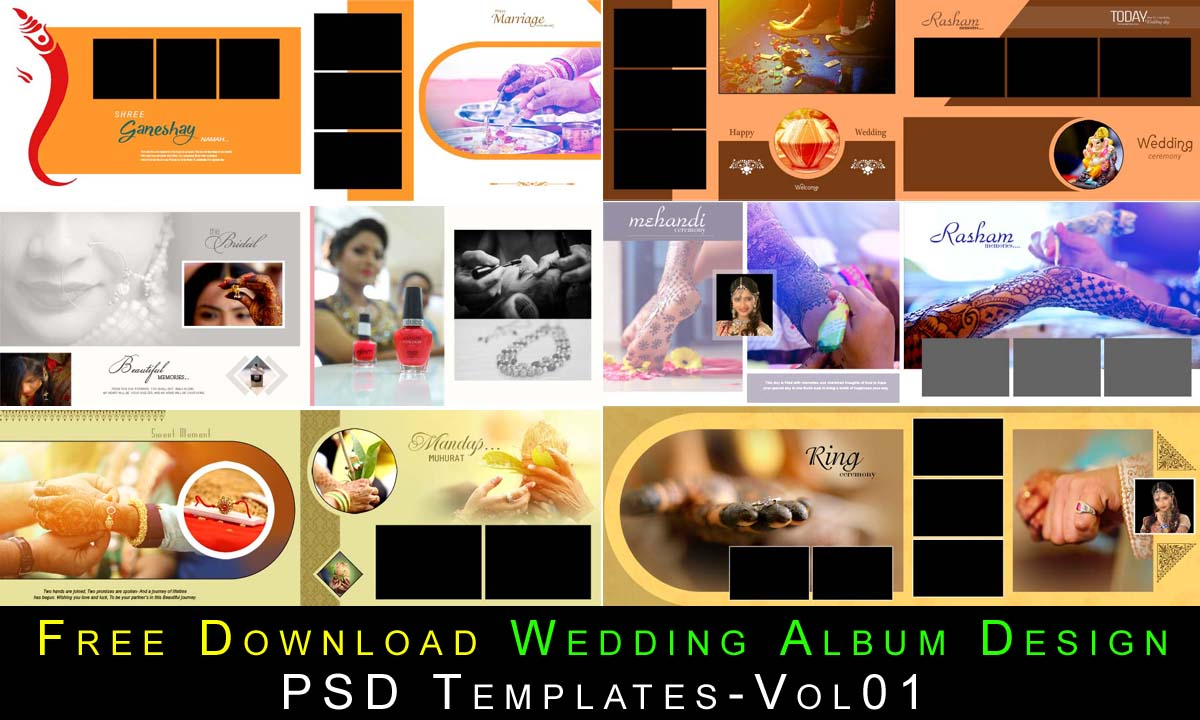Free Download Wedding Album Design PSD Templates-Vol01