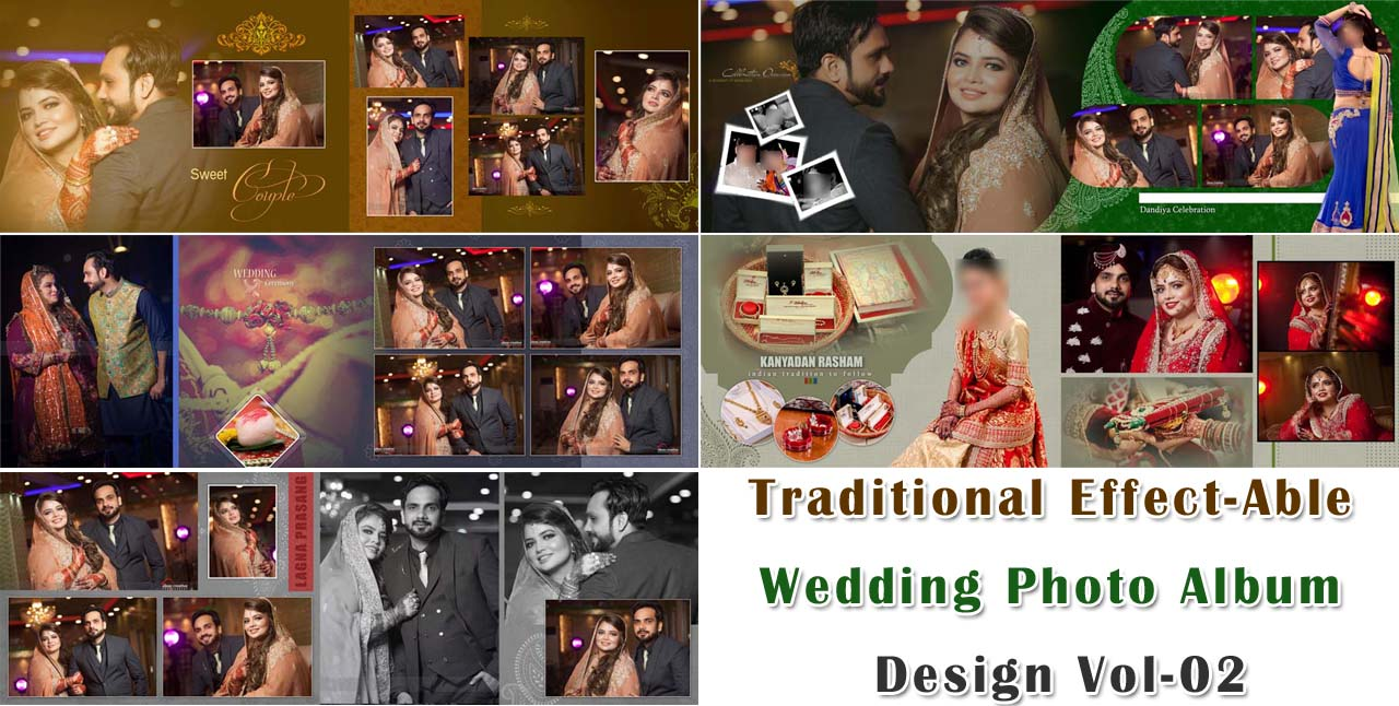 Traditional Effect-Able Wedding Photo Album Design Vol-02