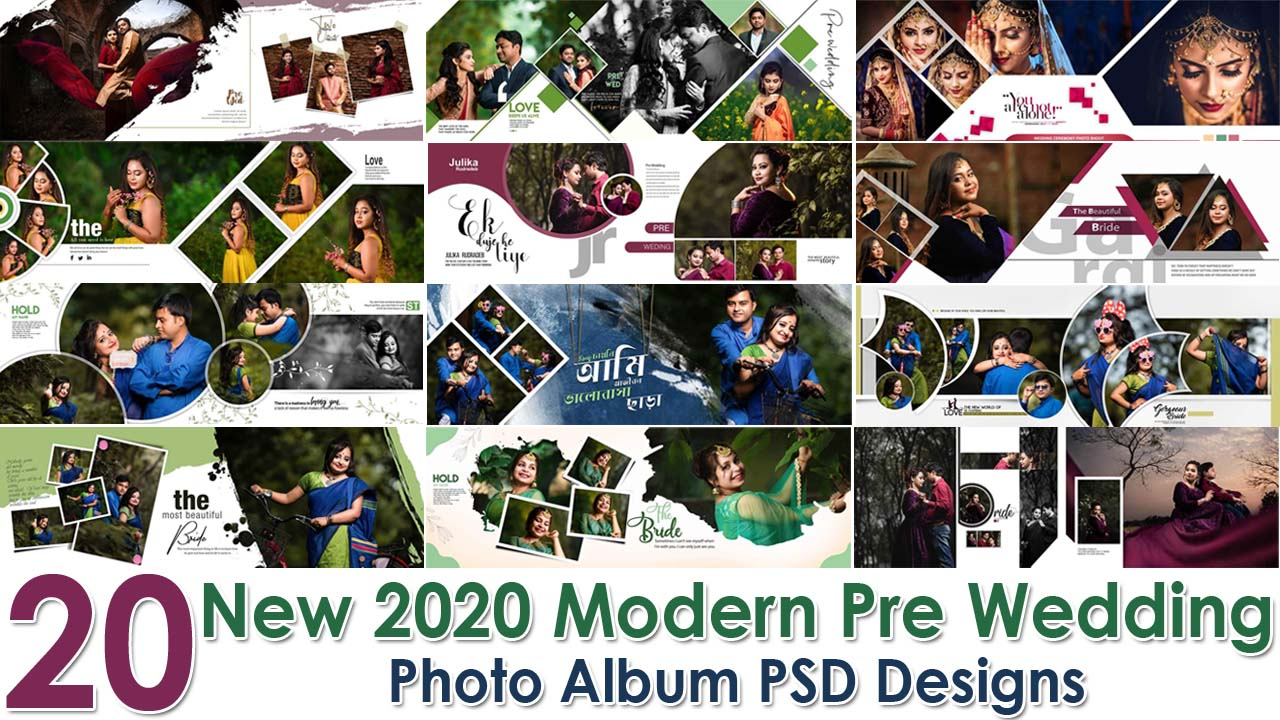 New 2020 Modern Pre Wedding Photo Album PSD Designs