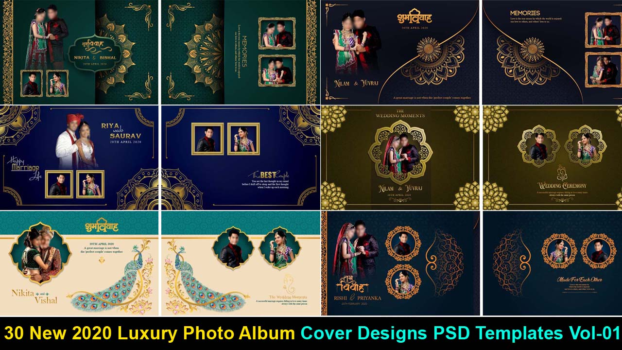New 2020 Luxury Photo Album Cover Designs PSD Templates Vol-01