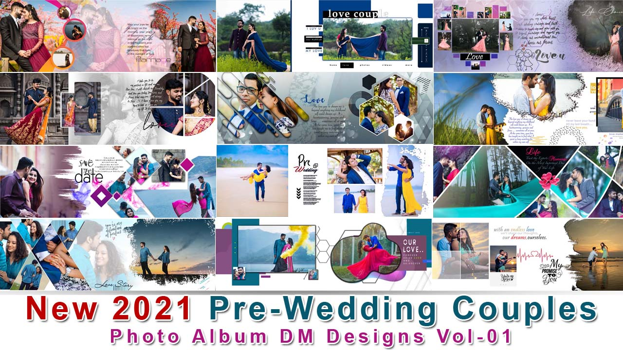 New 2021 Pre-Wedding Couples Photo Album DM Designs Vol-01