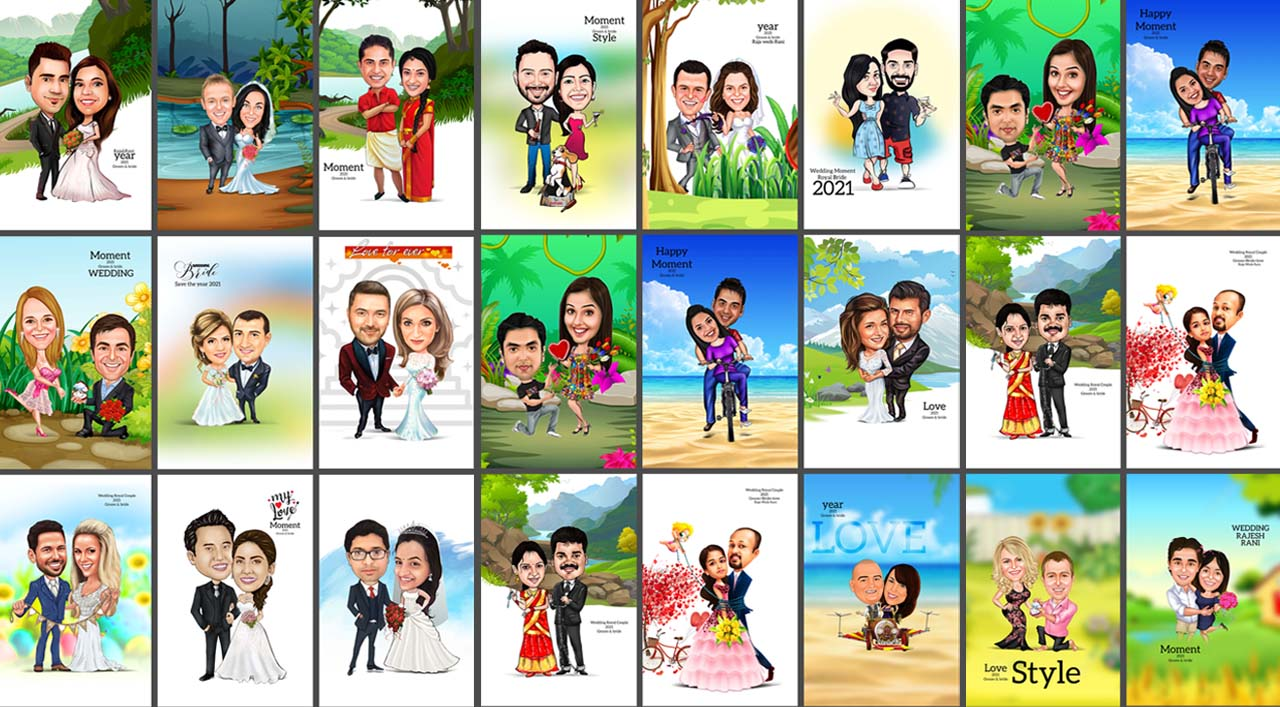 Top 20 Digital Cartoon Couple Caricatures PSD Templates