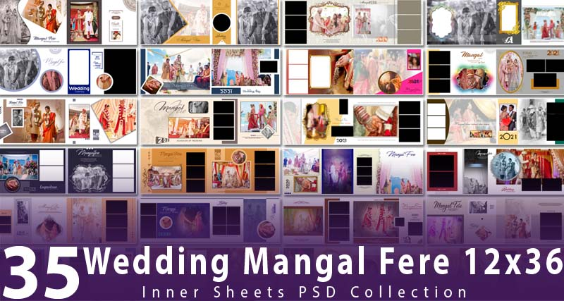 Wedding Mangal Fere 12x36 Inner Sheets PSD Collection