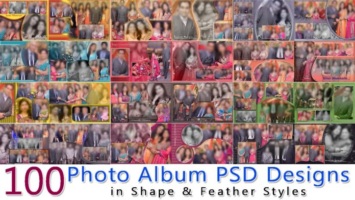 100 Photo Album PSD Designs in Shape & Feather Styles
