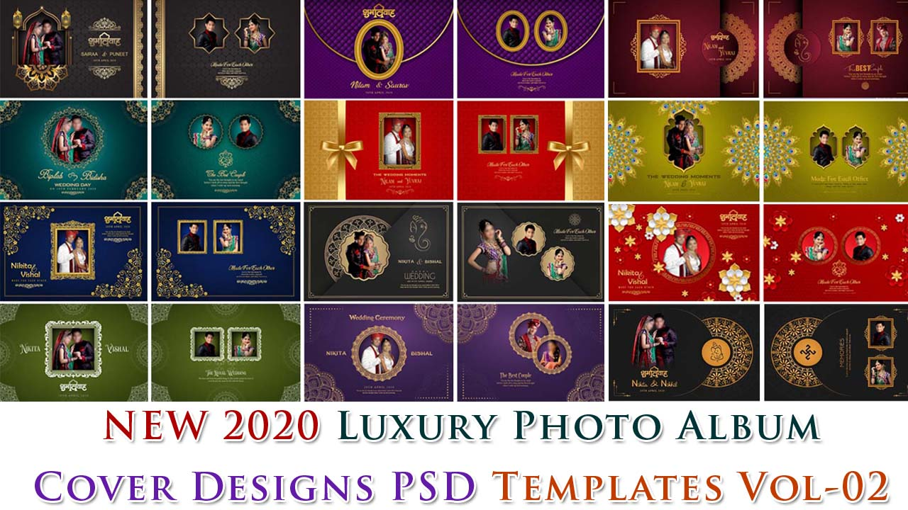 New 2020 Luxury Photo Album Cover Designs PSD Templates Vol-02