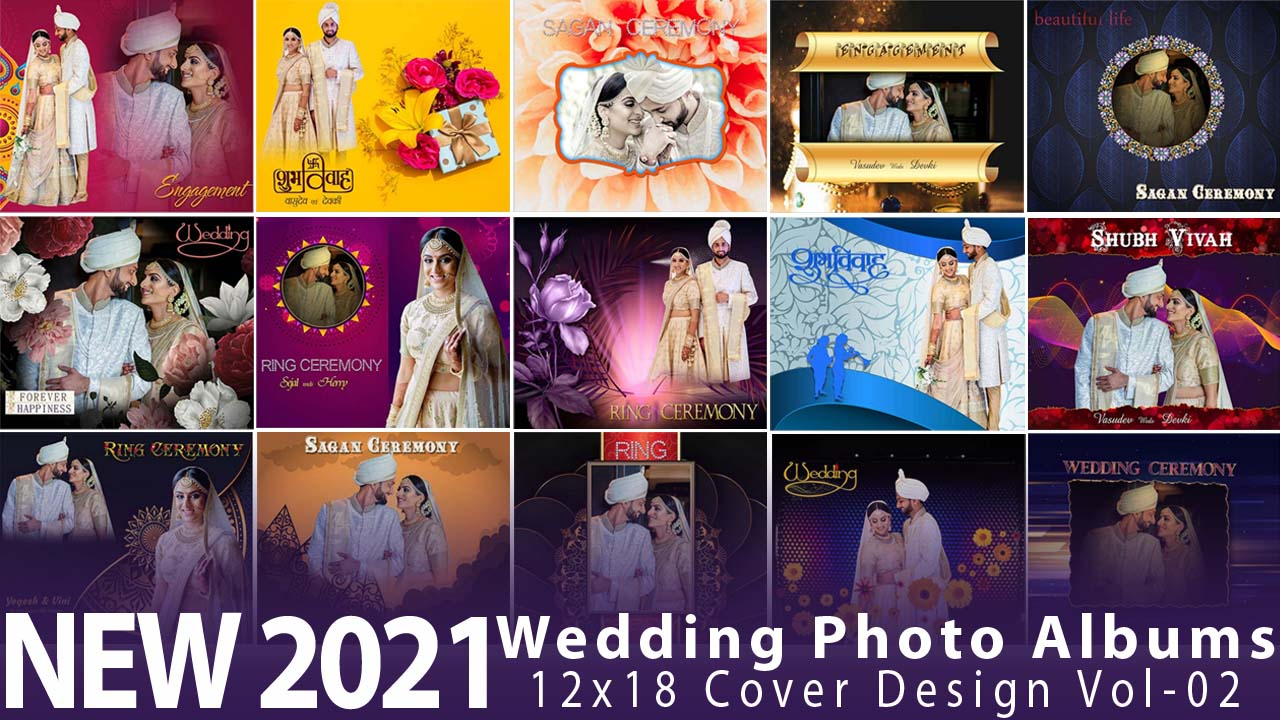 New 2021 Wedding Photo Albums 12x18 Cover Design Vol-02