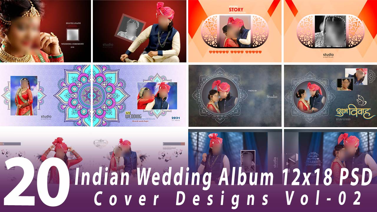 Indian Wedding Album 12x18 Cover Designs Vol-02
