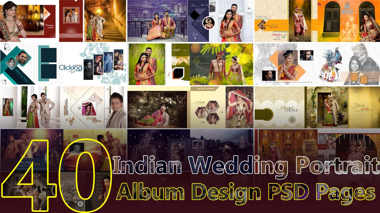 Indian Wedding Portrait Album Design PSD Pages