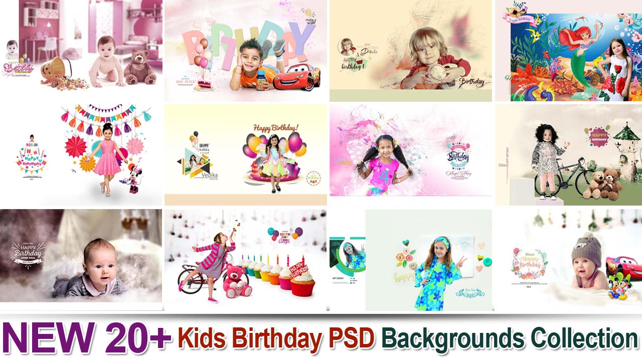 NEW 20+ Kids Birthday PSD Backgrounds Collection