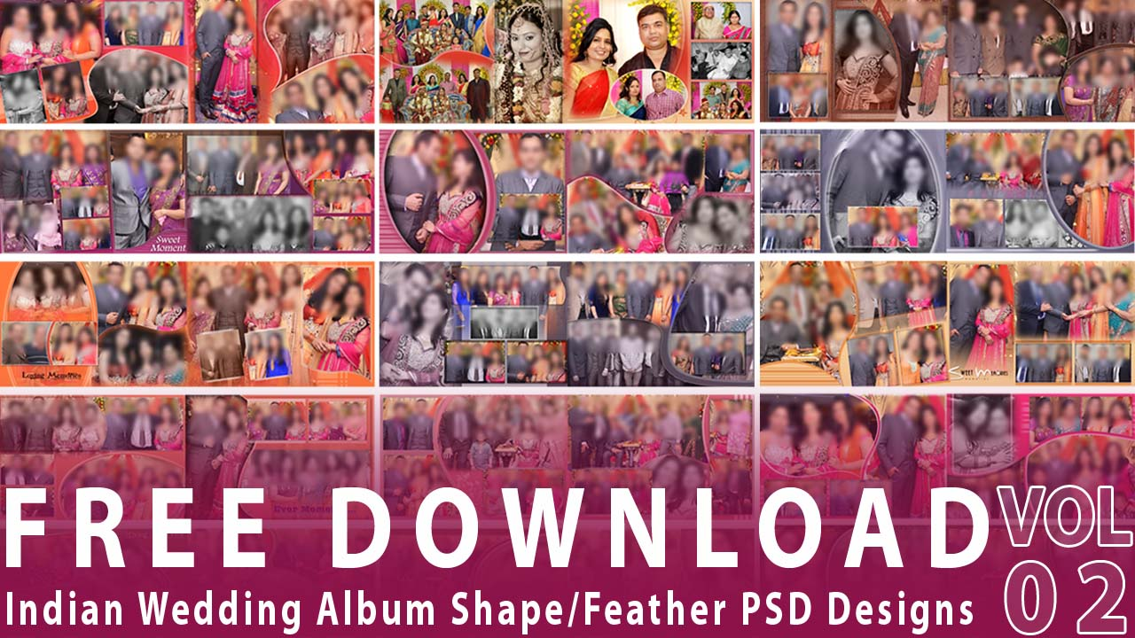20 Indian Wedding Album Shape/Feather PSD Designs Vol-02