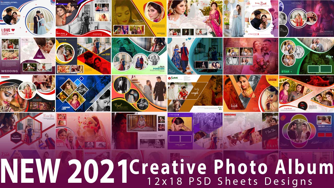 NEW 2021 Creative Photo Album 12x18 PSD Sheets Designs