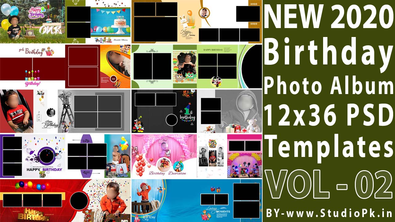 Birthday Photo Album 12x36 PSD Templates Vol-02