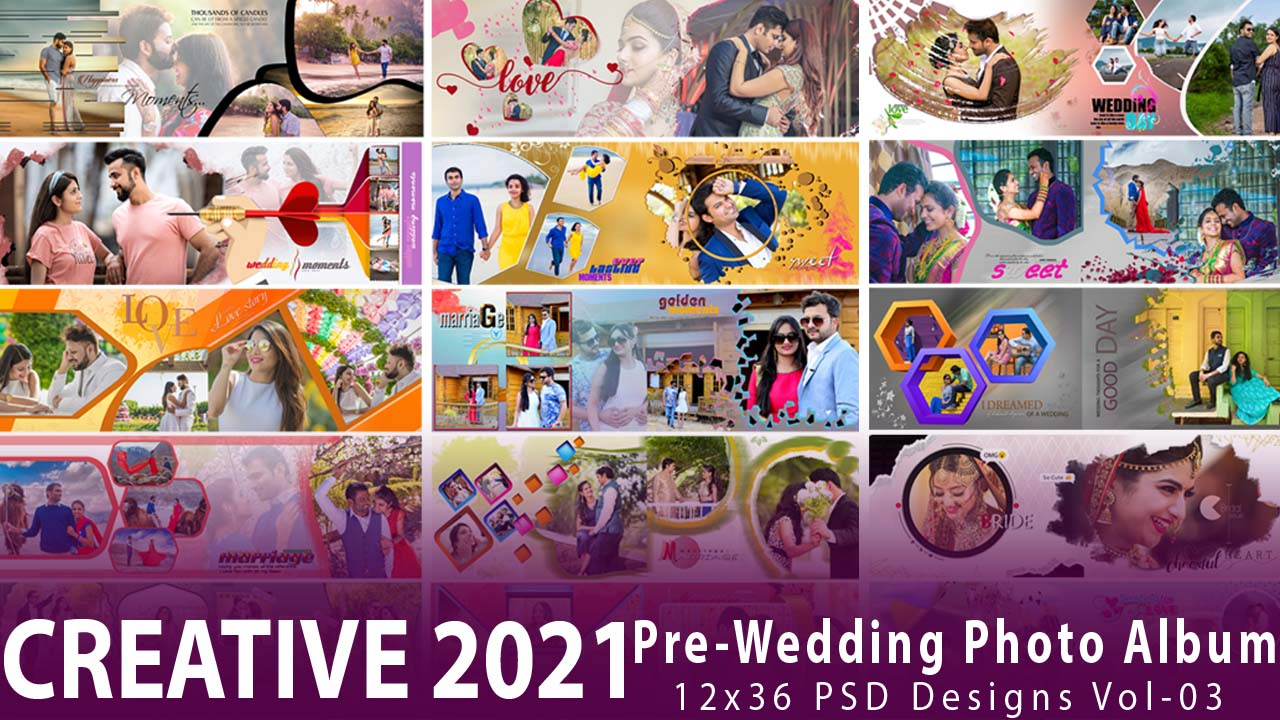 Creative 2021 Pre-Wedding Photo Album 12x36 PSD Design Vol-03