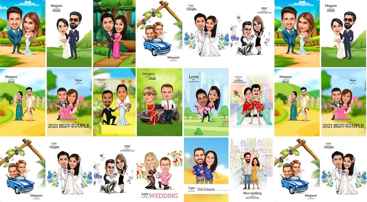 Digital Cartoon Couple Caricatures PSD Templates