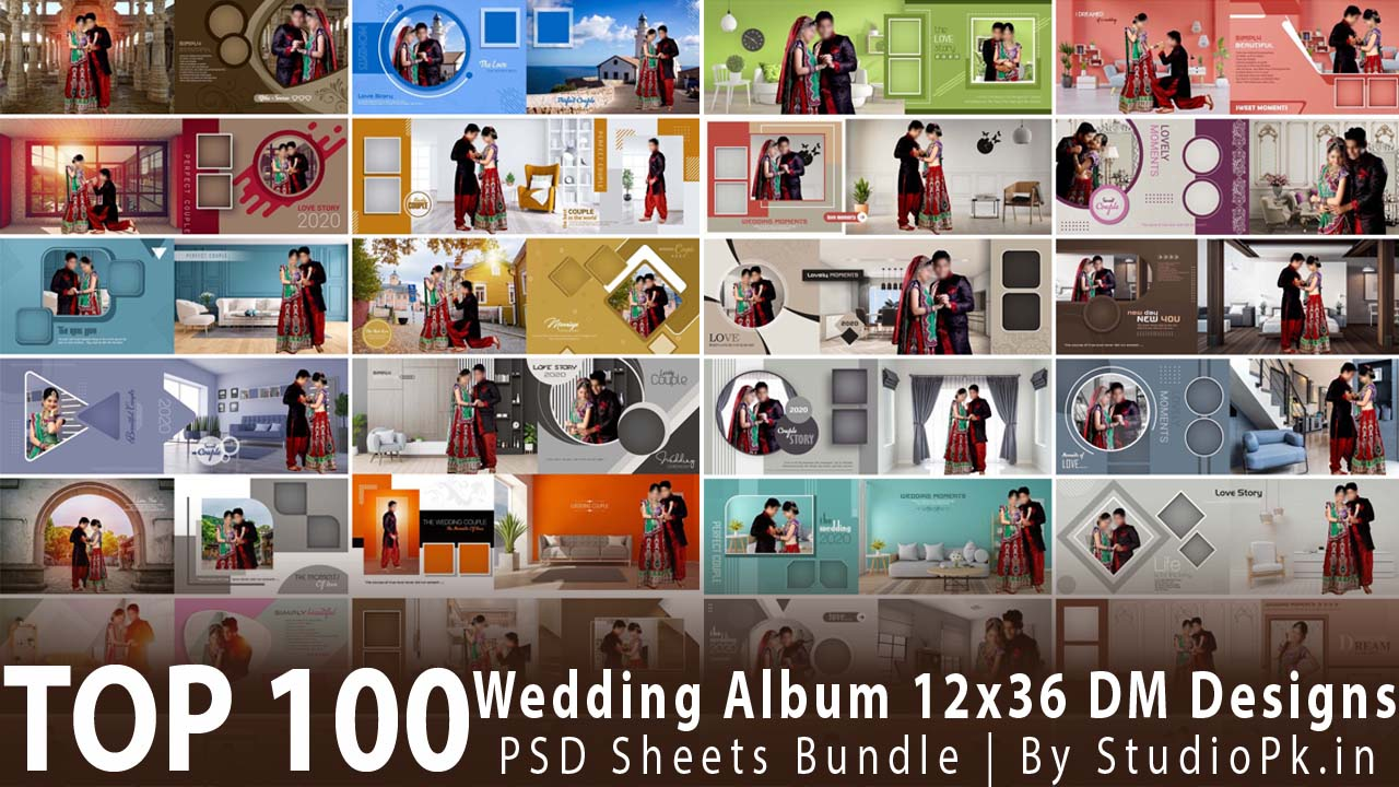 Top 100 Wedding Album 12x36 DM Designs PSD Sheets Bundle